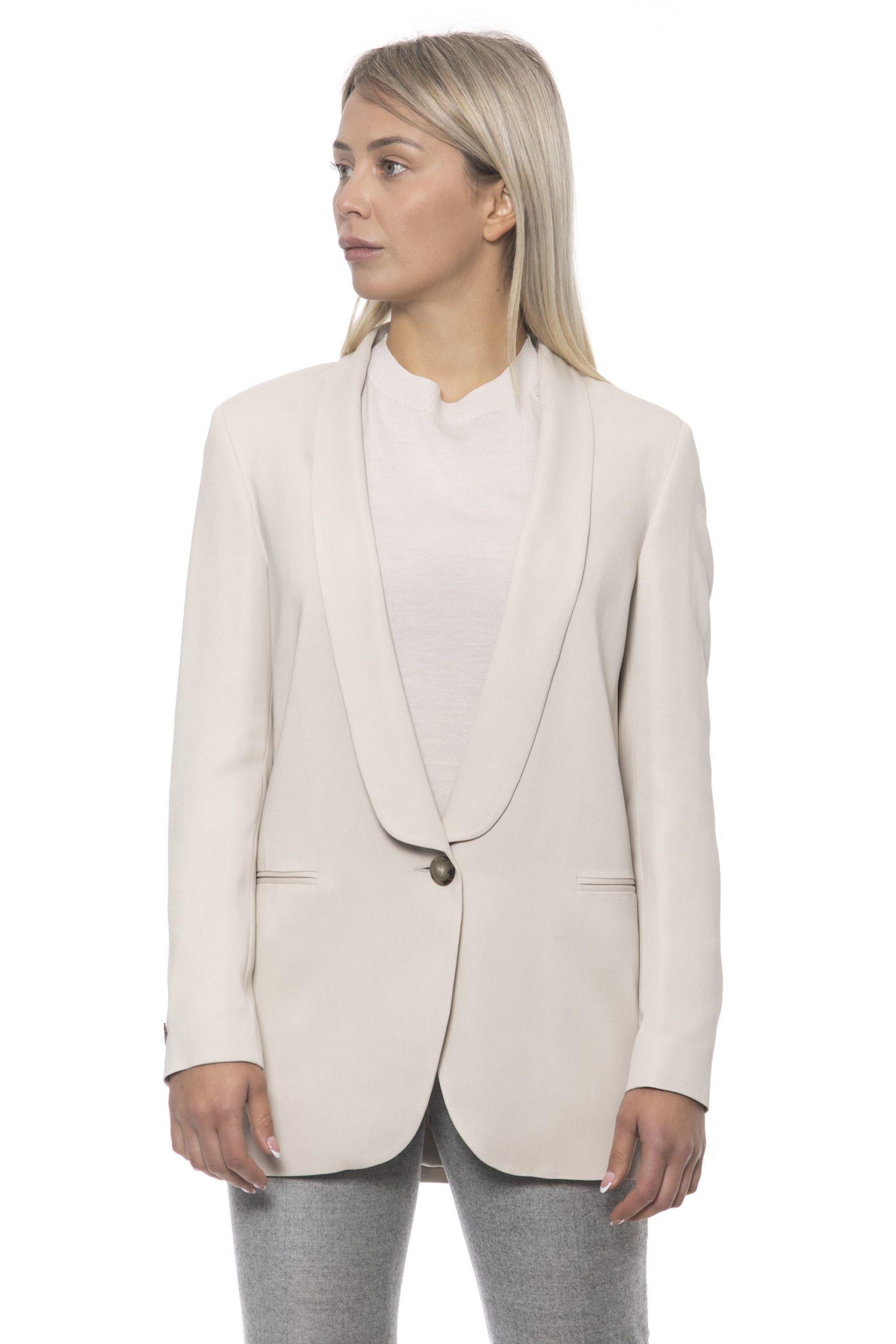 Peserico Women's Bianco Blazer Beige PE1383307 - IT42   S