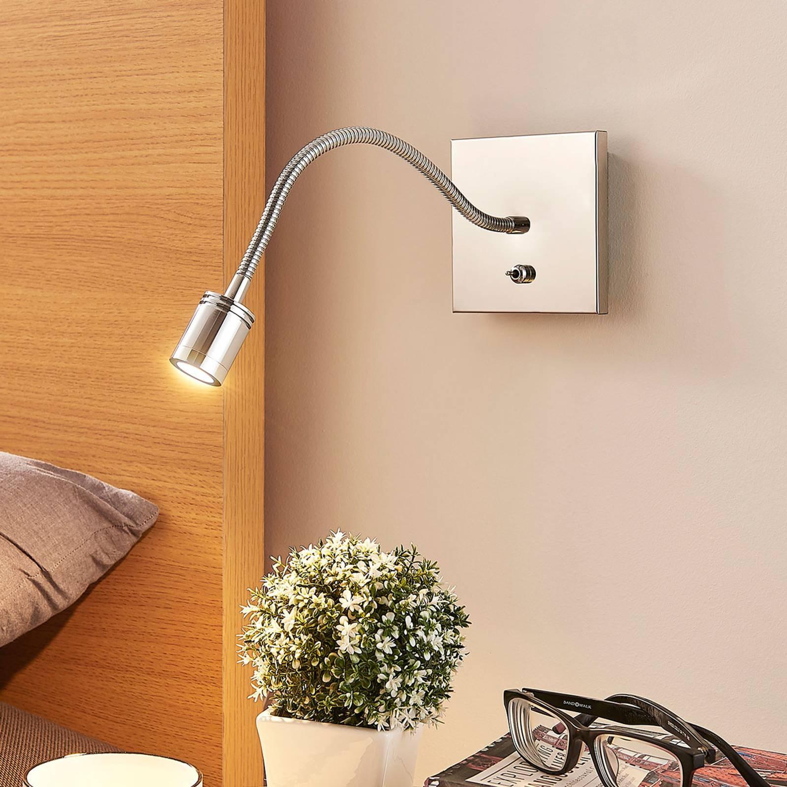 Forkrommet LED-veggleselampe Berfin, LED