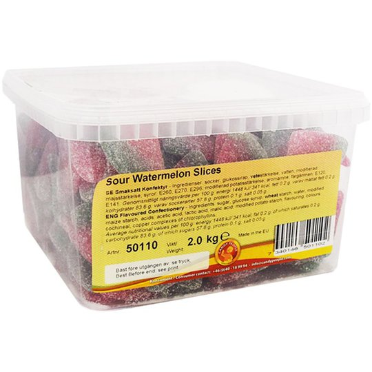 "Hel Låda Godis ""Sour Watermelon Slices"" 2kg - 62% rabatt"