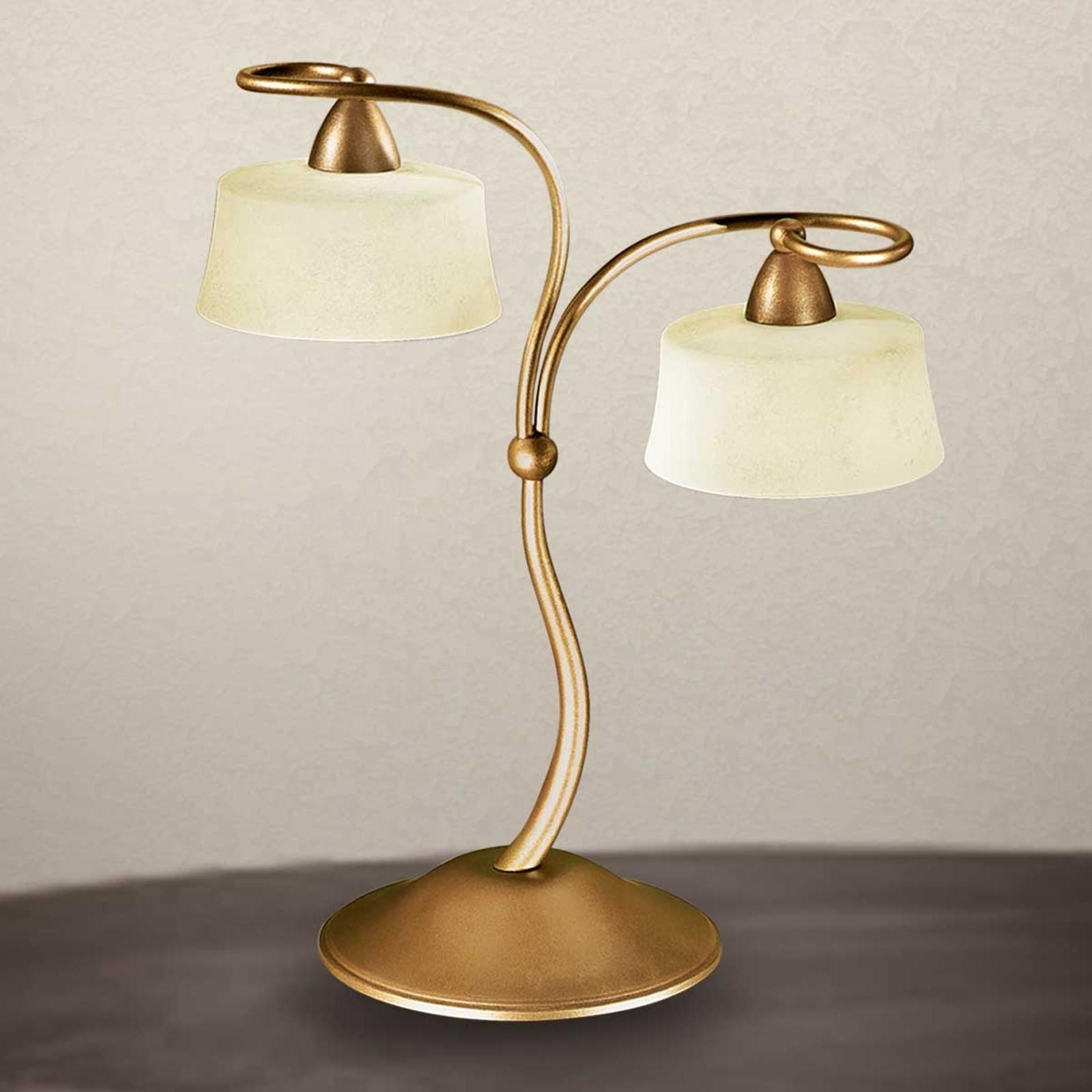 Pöytälamppu Alessio scavo-lasivarjostin, 2-lamp.