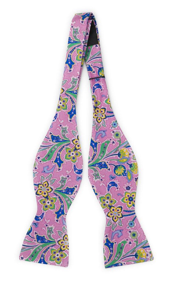 Silke Sløyfer Uknyttede, Flerfargete blomster på rosa med grønn kanting