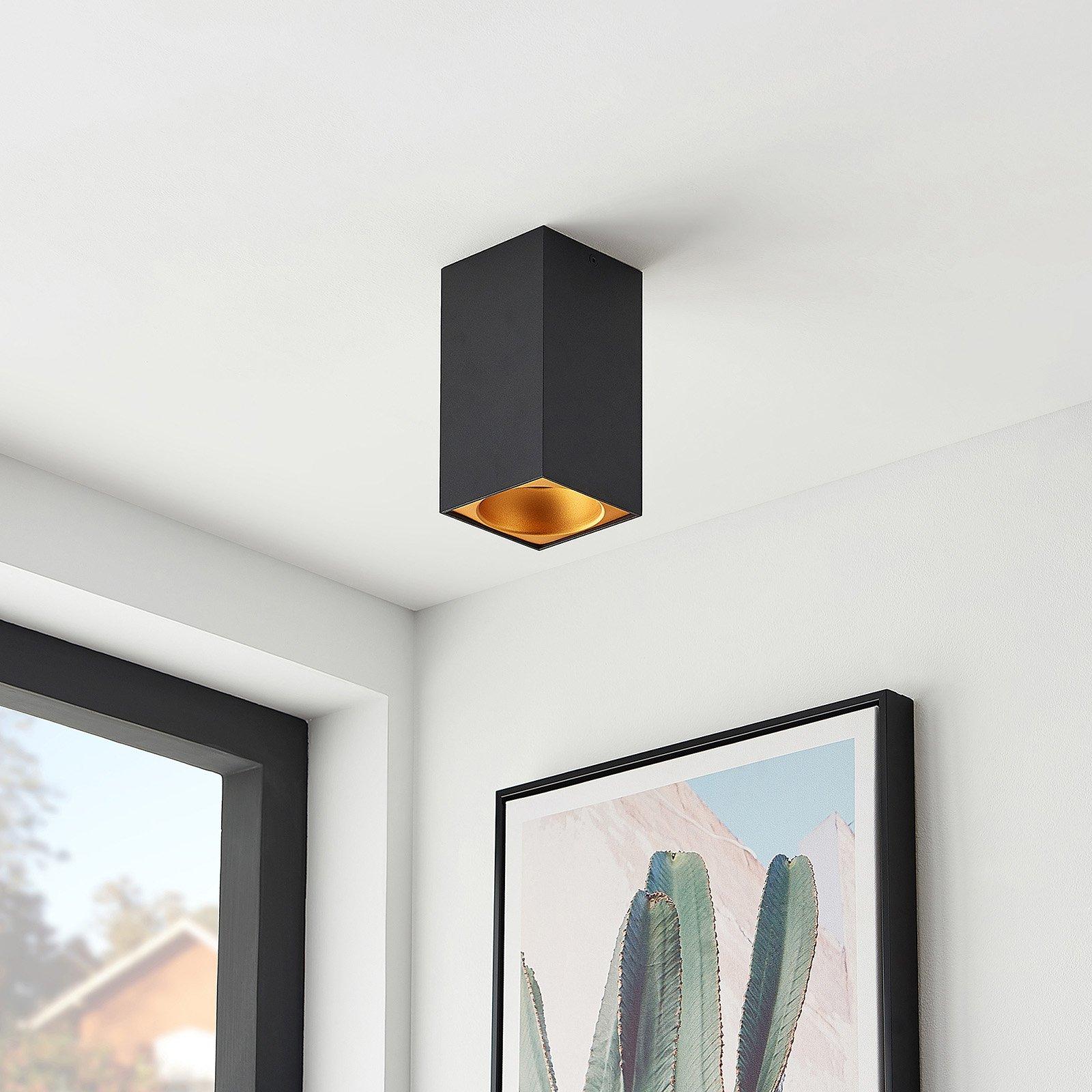 Arcchio Hinka taklampe, kantet, 18 cm, svart