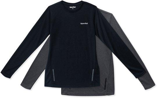 Hyperfied Thunder Long Sleve T-Shirt 2-pack, Black/Grey Melange 120