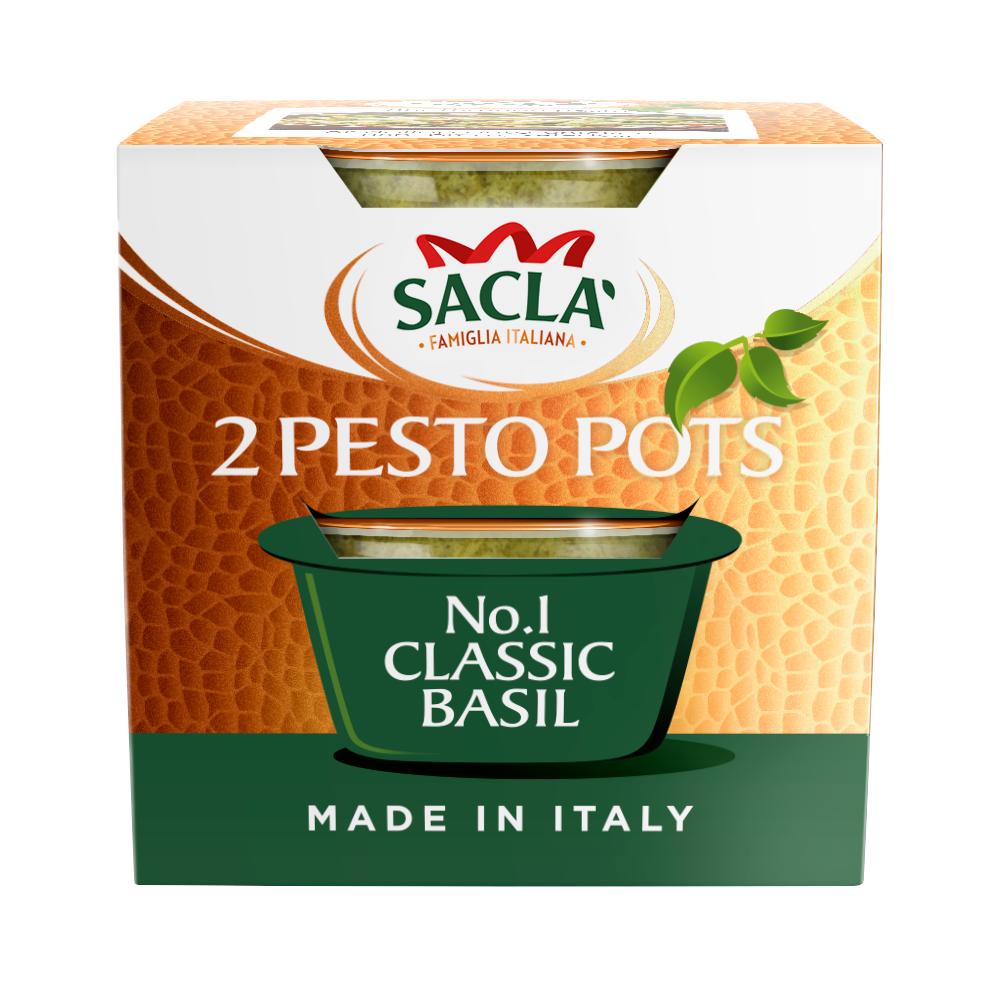 Sacla' Classic Basil Pesto Pots 2 x 45g