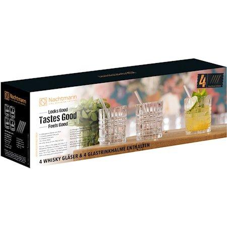 Feel Good Tumblerglass 34 cl 4-pakning + Sugerør