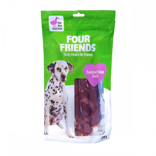 FourFriends Dog Twisted Stick Duck 25 cm (4 pack)