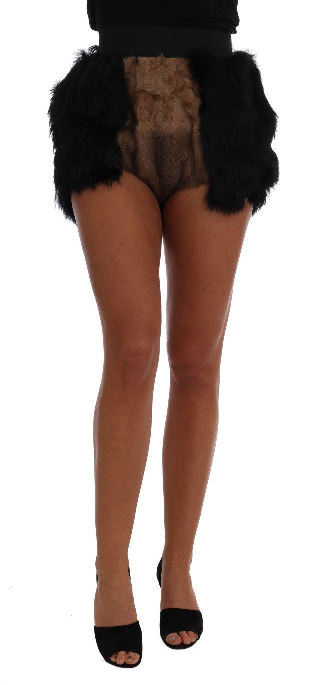 Dolce & Gabbana Women's Mink Nutria Fur Mini Trouser Black SKI1096 - IT40 S