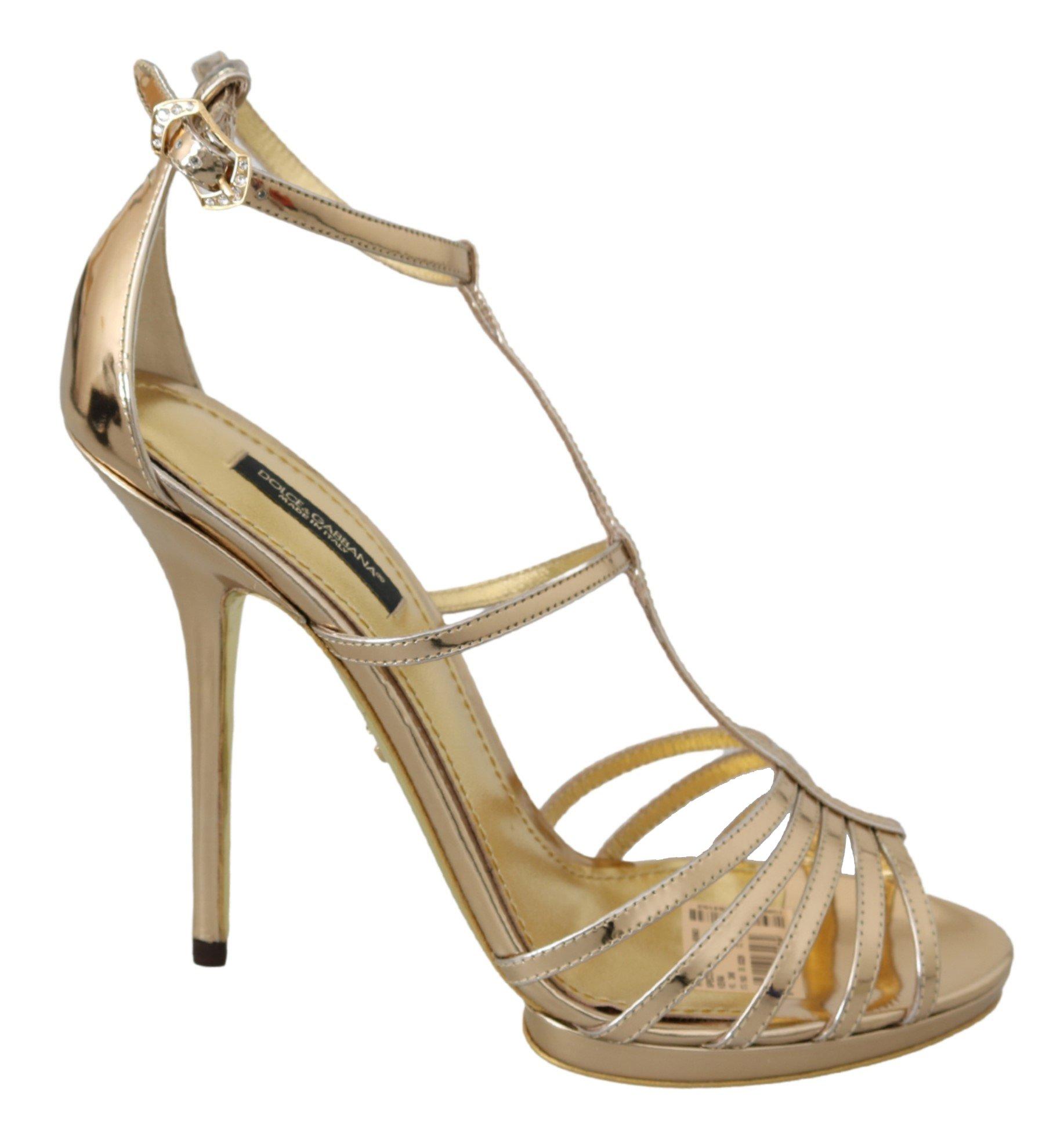 Dolce & Gabbana Women's Leather Ankle Strap Sandal Gold LA7012 - EU39/US8.5