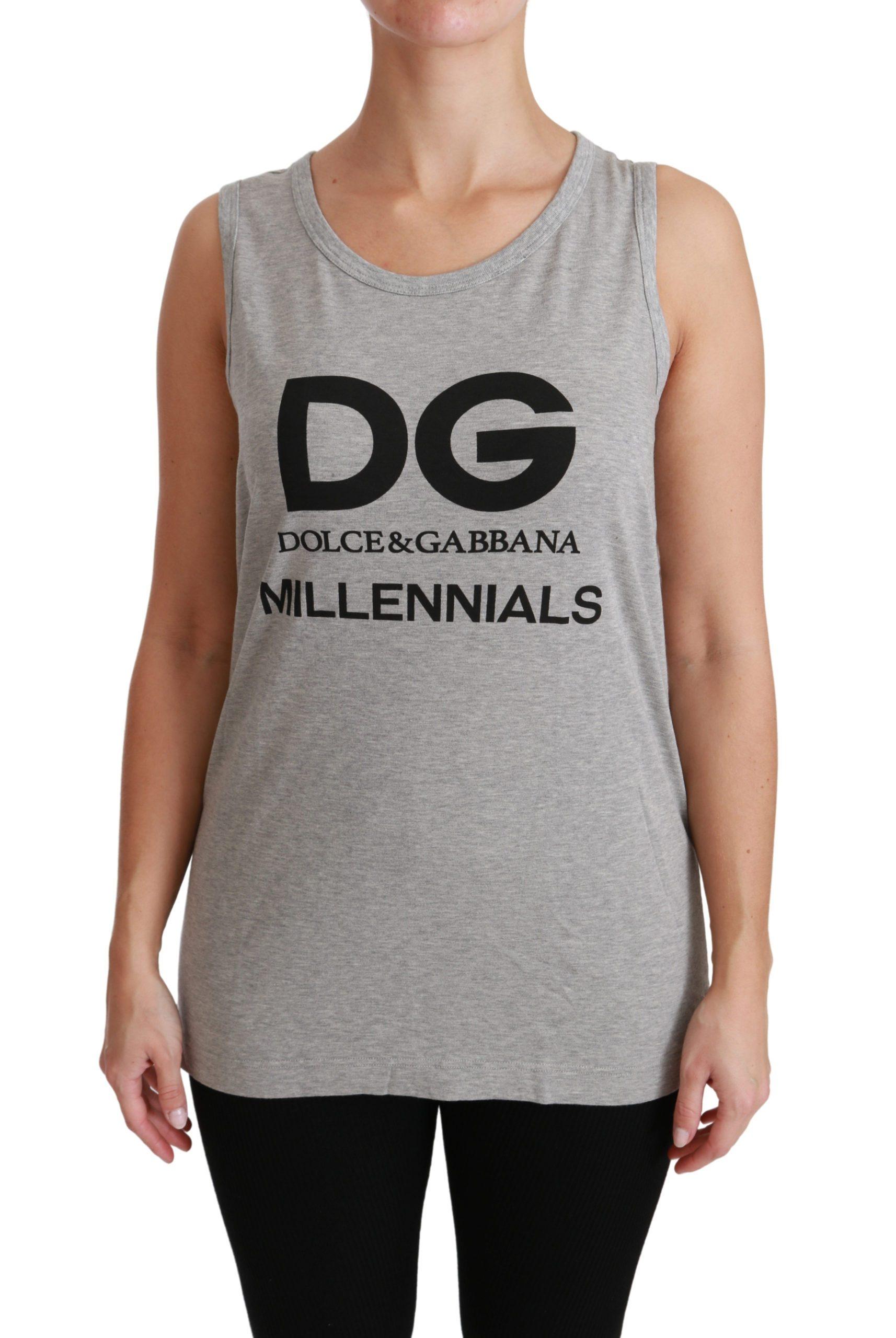 Dolce & Gabbana Women's DG Millennial Cotton T-Shirt Gray TSH4447 - IT36   XS