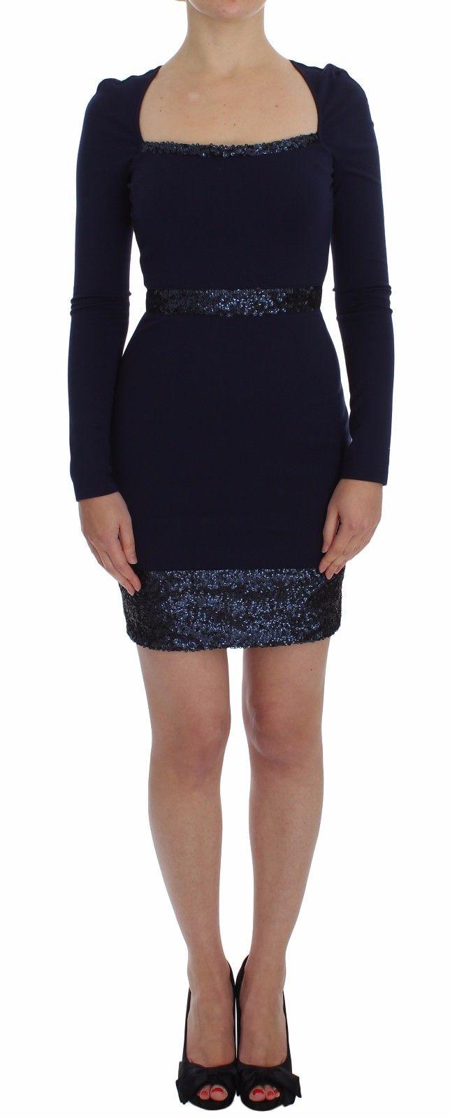 Versace Jeans Women's Long Sleeve Mini Sheath Dress Blue SIG18105 - IT40 S