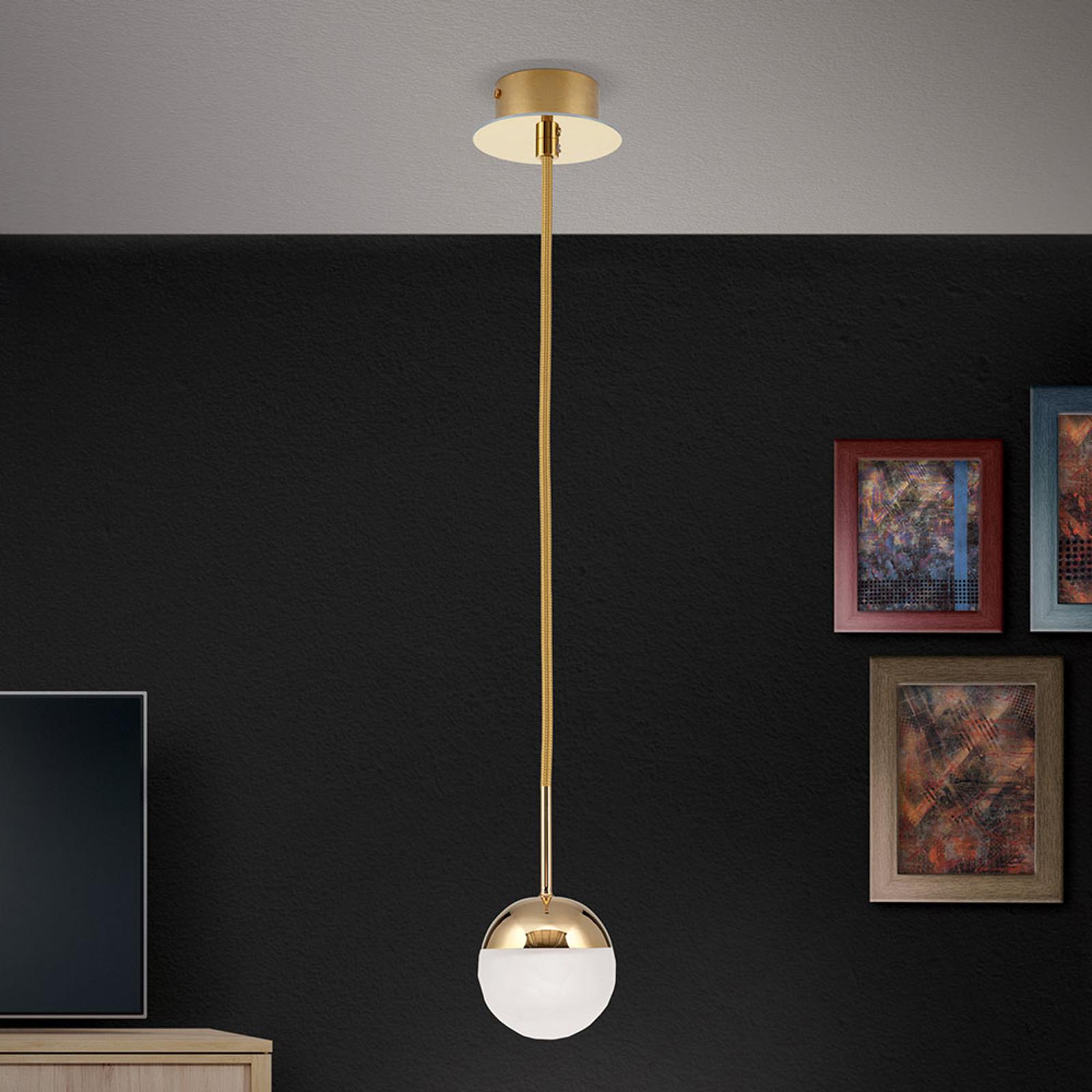 LED-riippuvalaisin Ball, yksilamppuinen, kulta