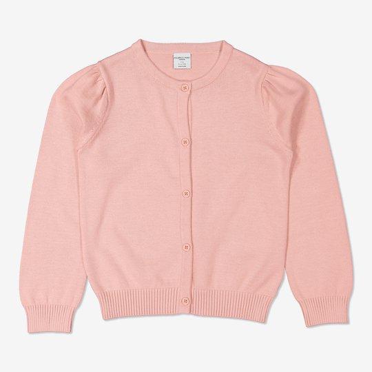 Finstrikket cardigan rosa