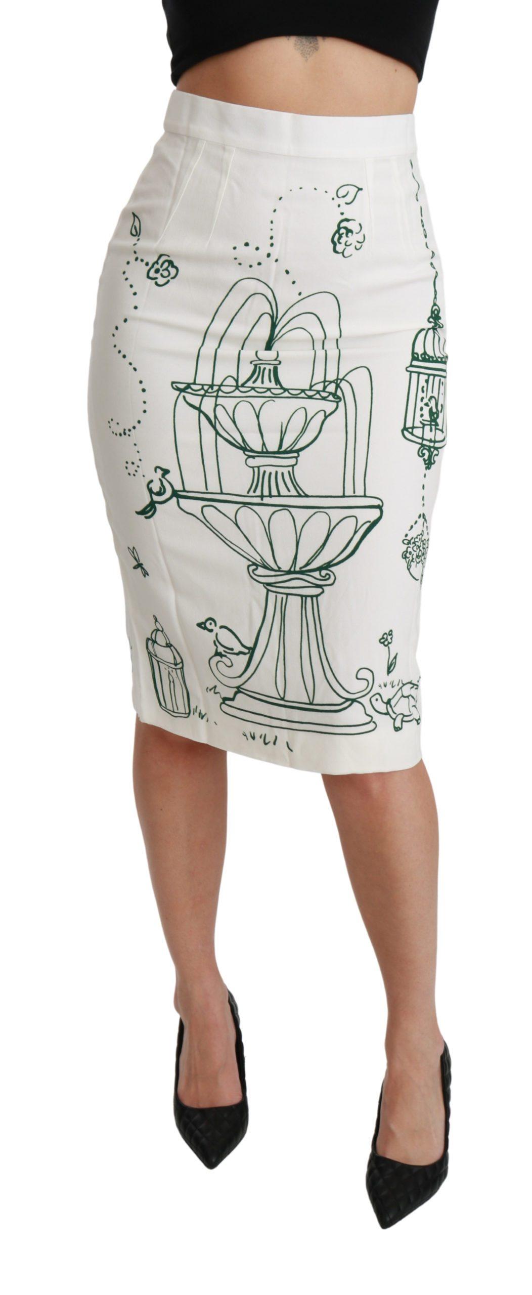 Dolce & Gabbana Women's Fairy Tale Print Stretch White Skirt Green SKI1435 - IT38 XS