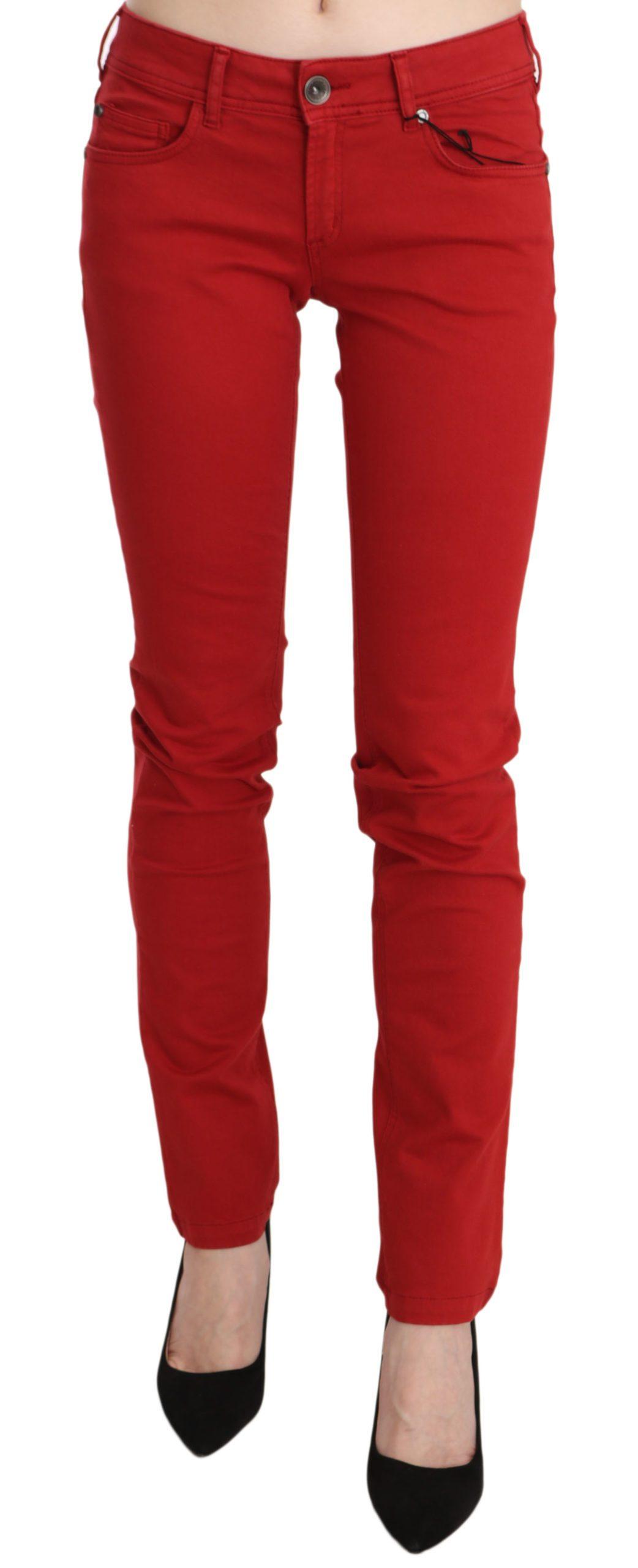 PLEIN SUD Women's Cotton Stretch Low Waist Skinny Trouser Red PAN70089 - W27