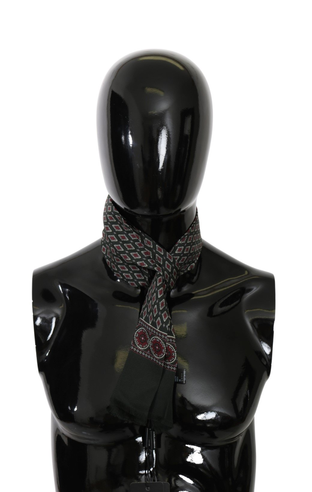 Dolce & Gabbana Men's Patterned Slim Wrap Silk Scarf Green MS5592
