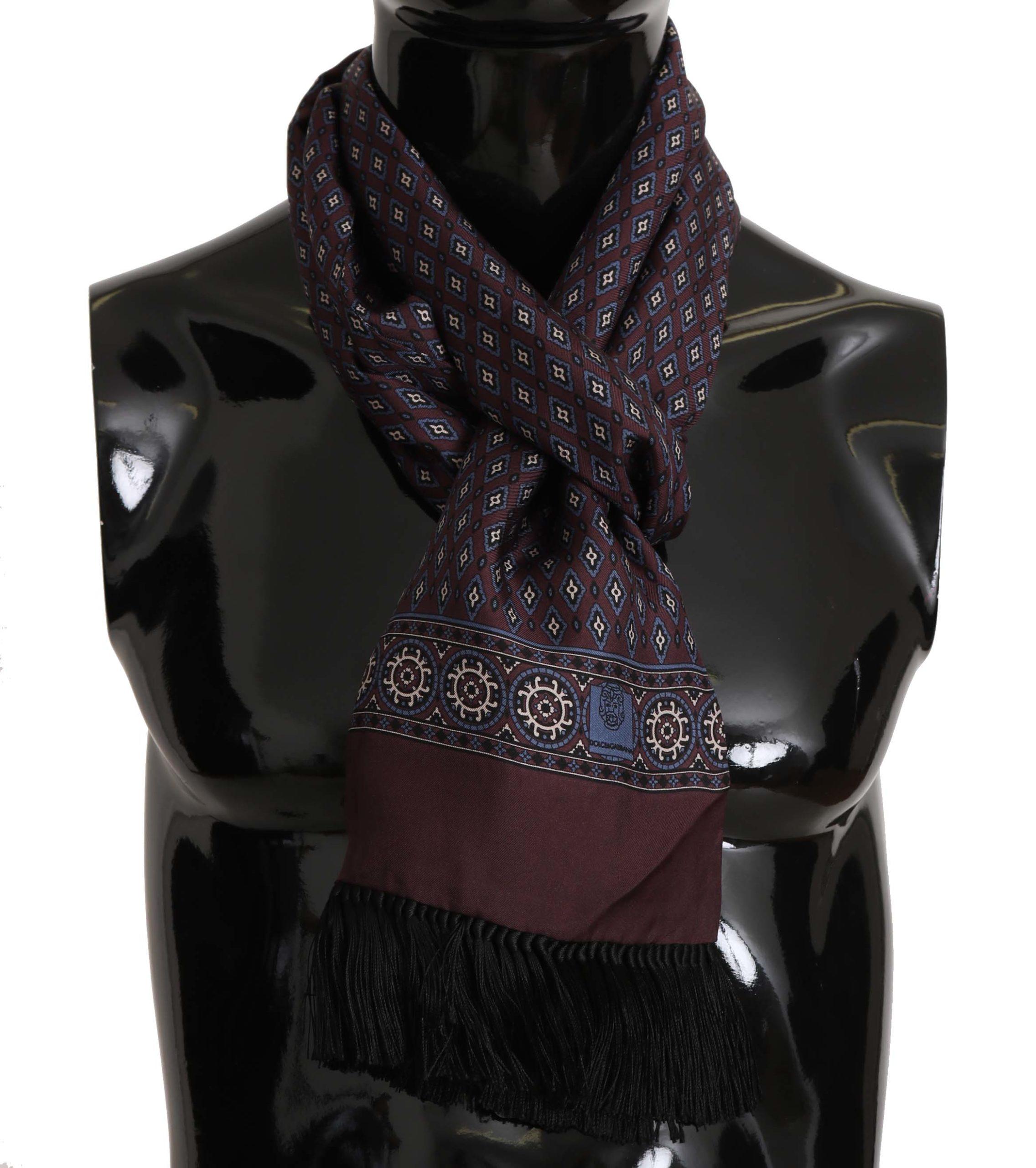 Dolce & Gabbana Men's Baroque Print Fringes Scarf Bordeaux MS5141