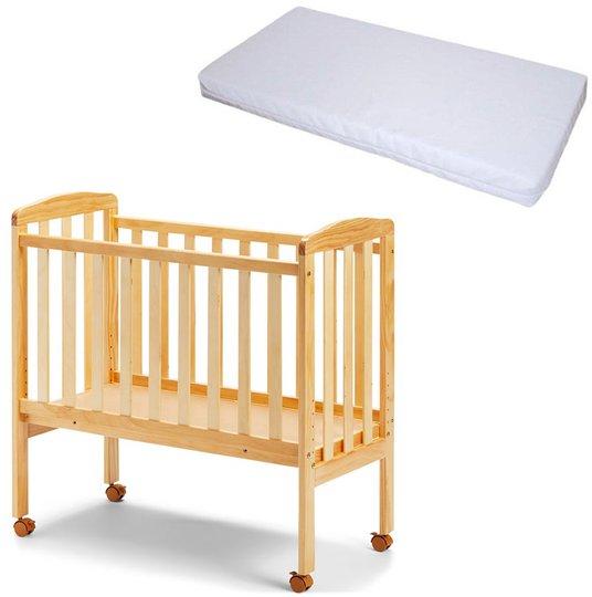 JLY Bedside Crib inkl. BabyDan Madrass Comfort 84x40, Natur