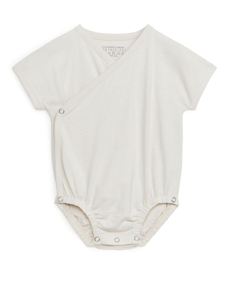 Short-Sleeve Wrap Bodysuit - Beige