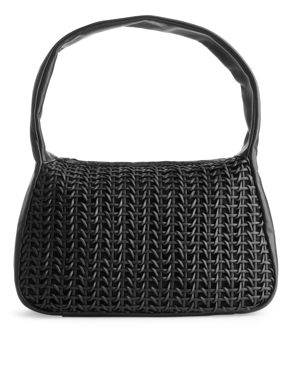 Woven Leather Bag - Black