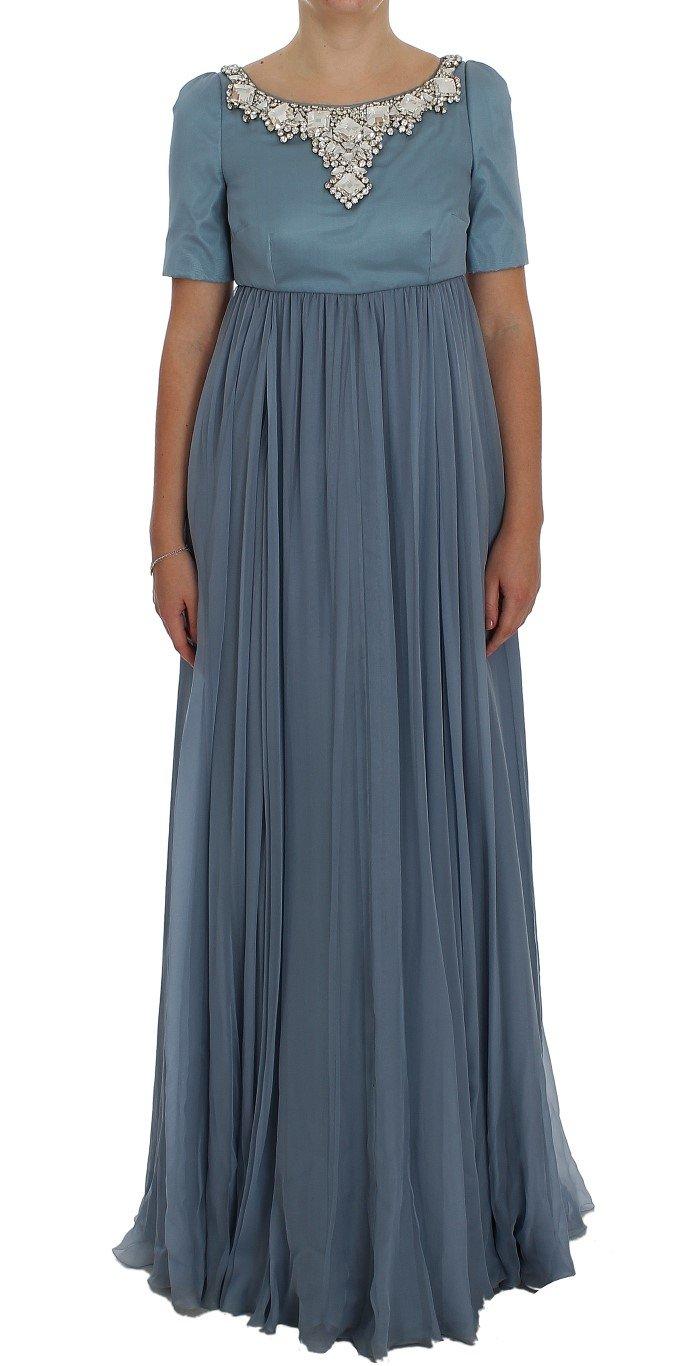 Dolce & Gabbana Women's Silk Crystal Sheath Gown Dress Blue NOC10140 - IT40 S