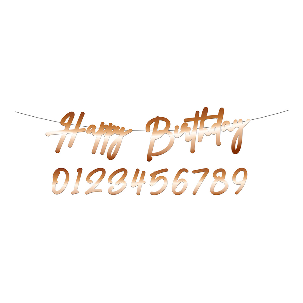 Siffergirlang Happy Birthday Guld