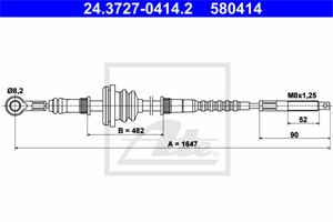 Vaijeri, käsijarru, Edessä, MERCEDES-BENZ MB Buss [631], MB Flak/chassi [631], MB Skåp [631], 631 420 19 85, A 631 420 19 85