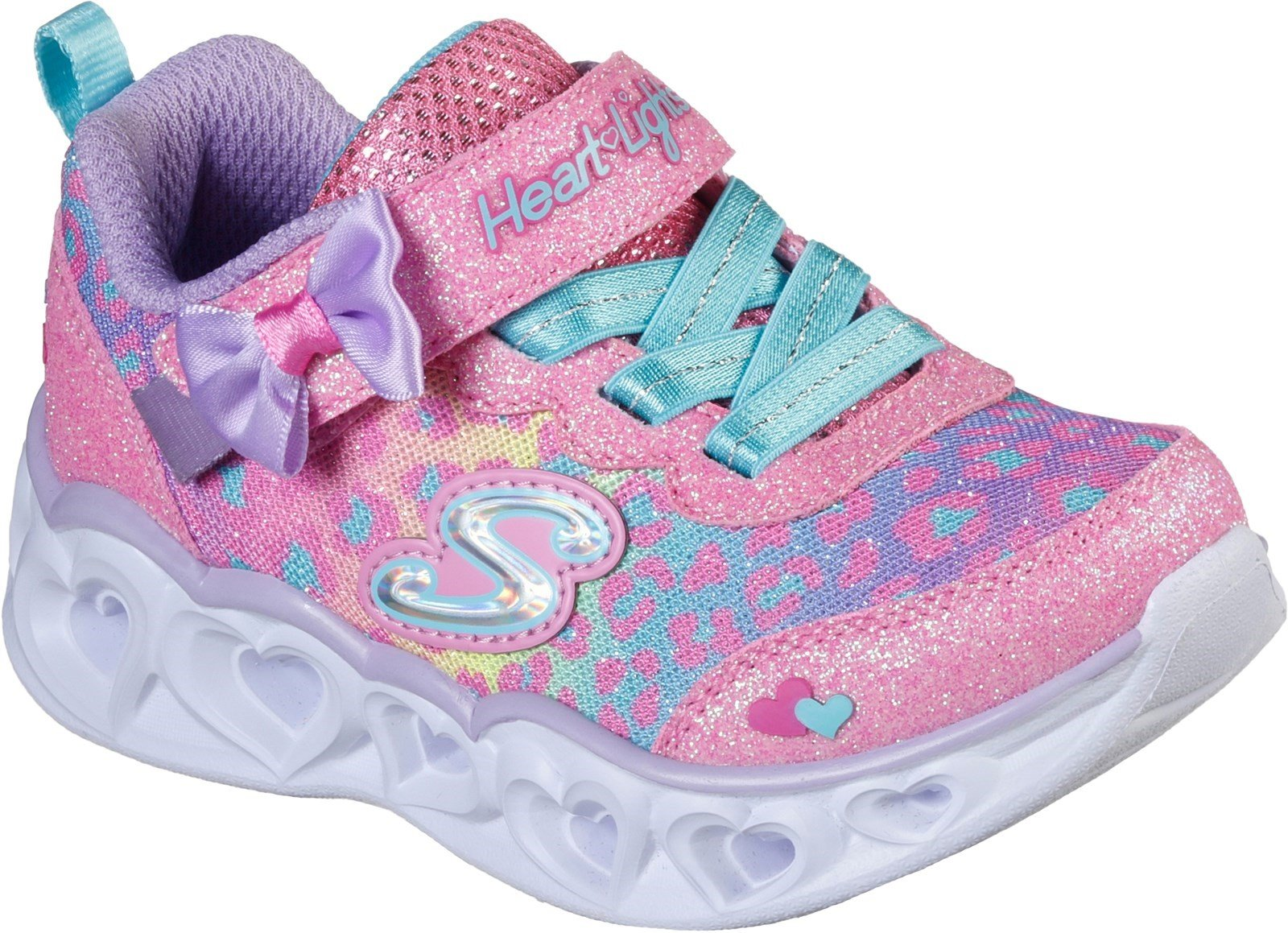 Skechers Kid's Heart Lights Touch Fastening Trainer Various Colours 31134 - Hot Pink/Turquoise/Lavender 4