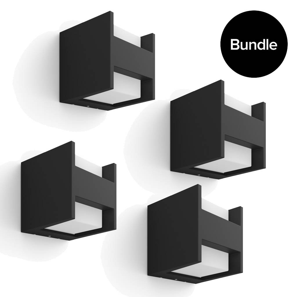 Philips Hue - 4x Fuzo Wall Lantern Black Outdoor - Warm White - Bundle