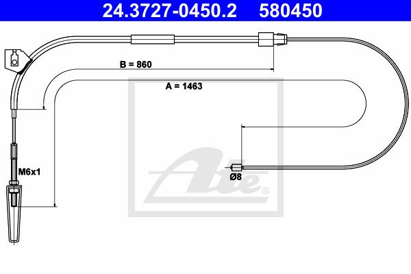 Käsijarruvaijeri ATE 24.3727-0450.2