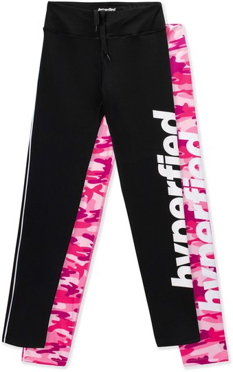 Hyperfied Track Tights 2-pack, Black/Camo Pink 170
