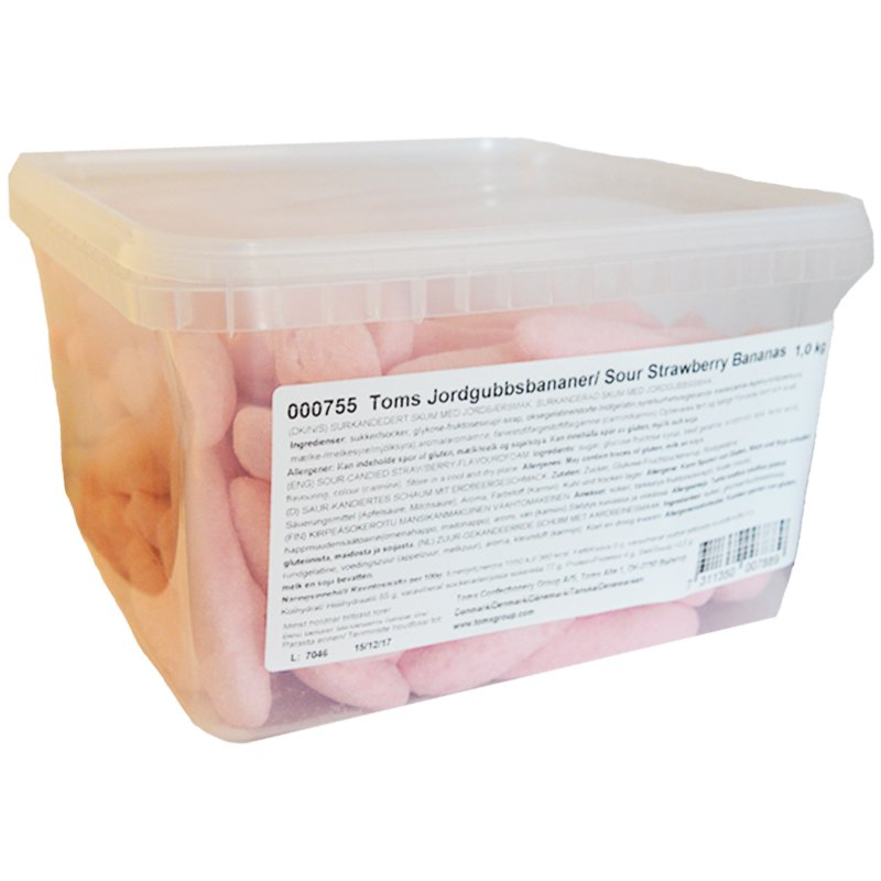 """Laatikollinen """"Kirpeät mansikkabanaanit"""" 1 kg - 50% alennus"""