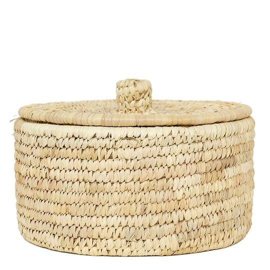 Afroart - Palm Korg med lock 20x11 cm Natur