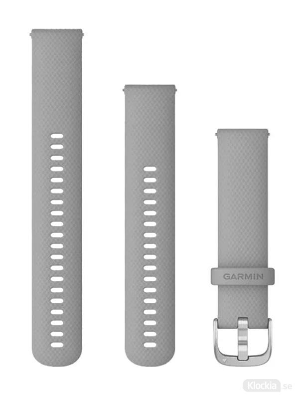 Garmin 20mm Pudergrått silikonarmband med silverfärgade detaljer