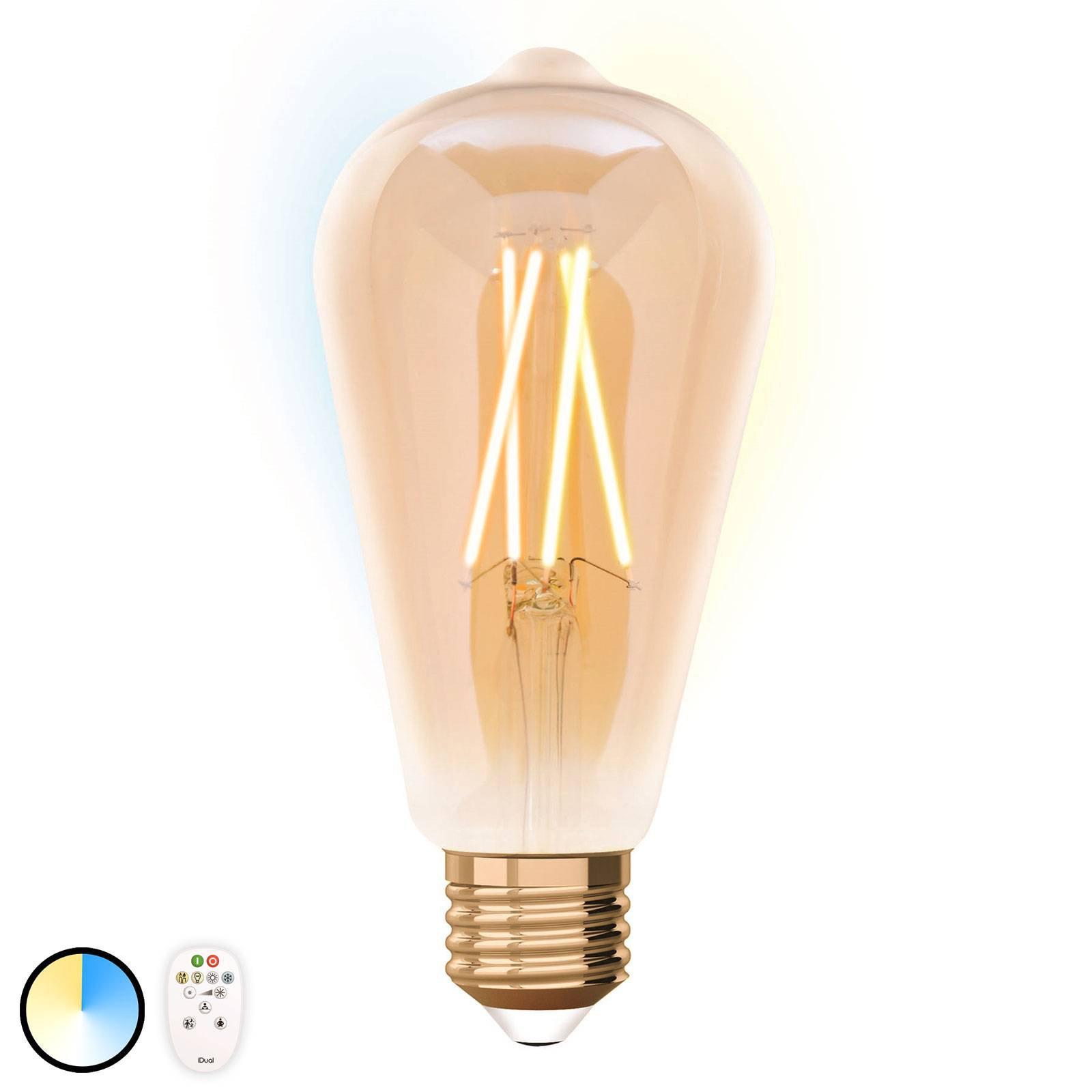 iDual LED-pære E27 ST64 9 W med fjernkontroll