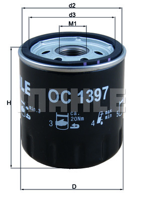 Öljynsuodatin MAHLE ORIGINAL OC 1397