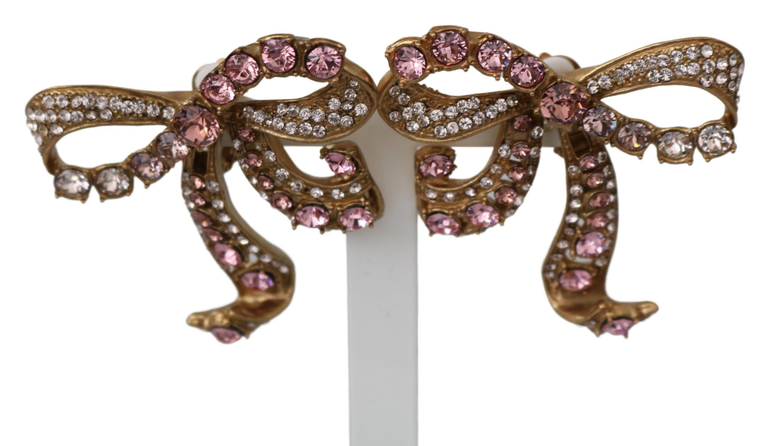 Dolce & Gabbana Women's Brass Bow Clip On Earrings Gold SMY100198