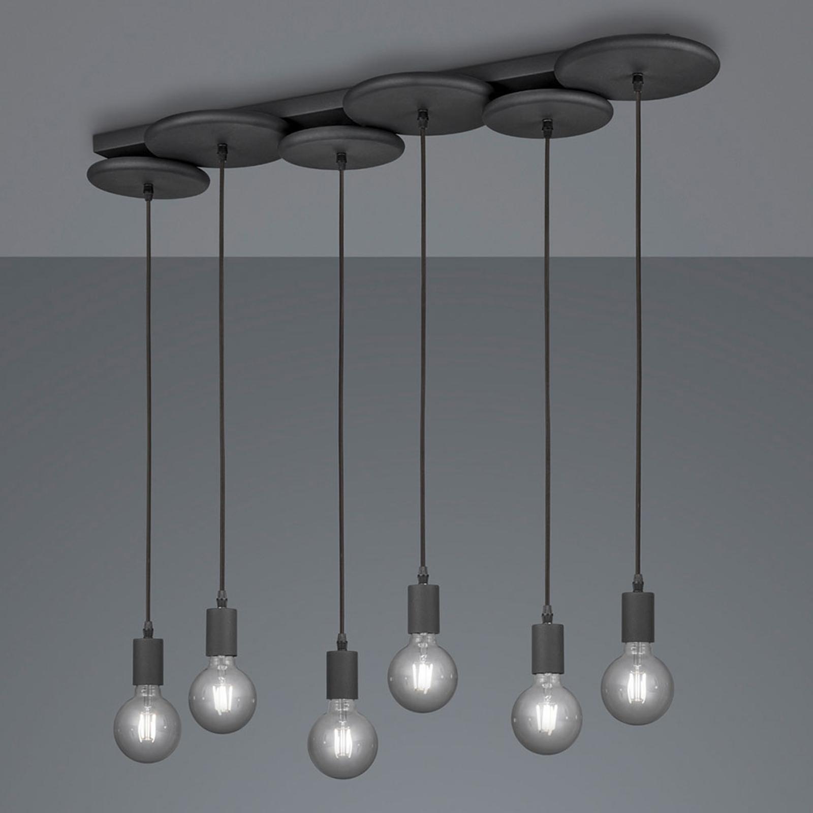 Riippuvalaisin Discus, 6-lamppuinen, musta