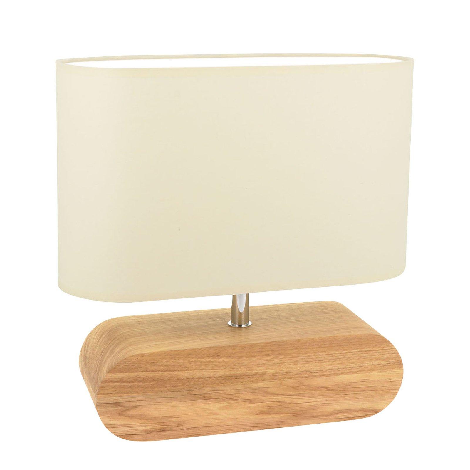 Bordlampe Marinna, eikefot, skjerm ecru