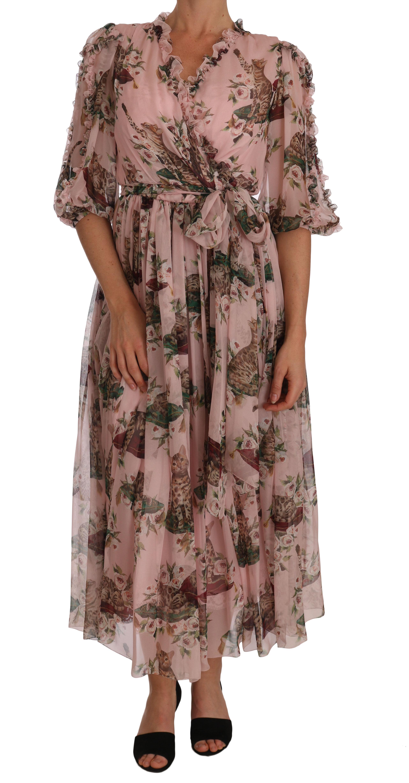 Dolce & Gabbana Women's Silk Pink Bengal Shift Wrap Gown Pink DR1453 - IT42|M