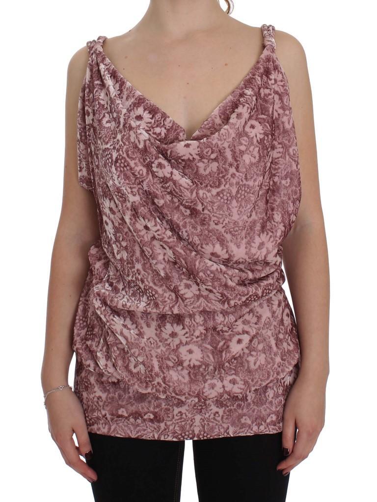 Exte Women's Floral Print Viscose Silk Top Pink SIG30931 - IT40 S