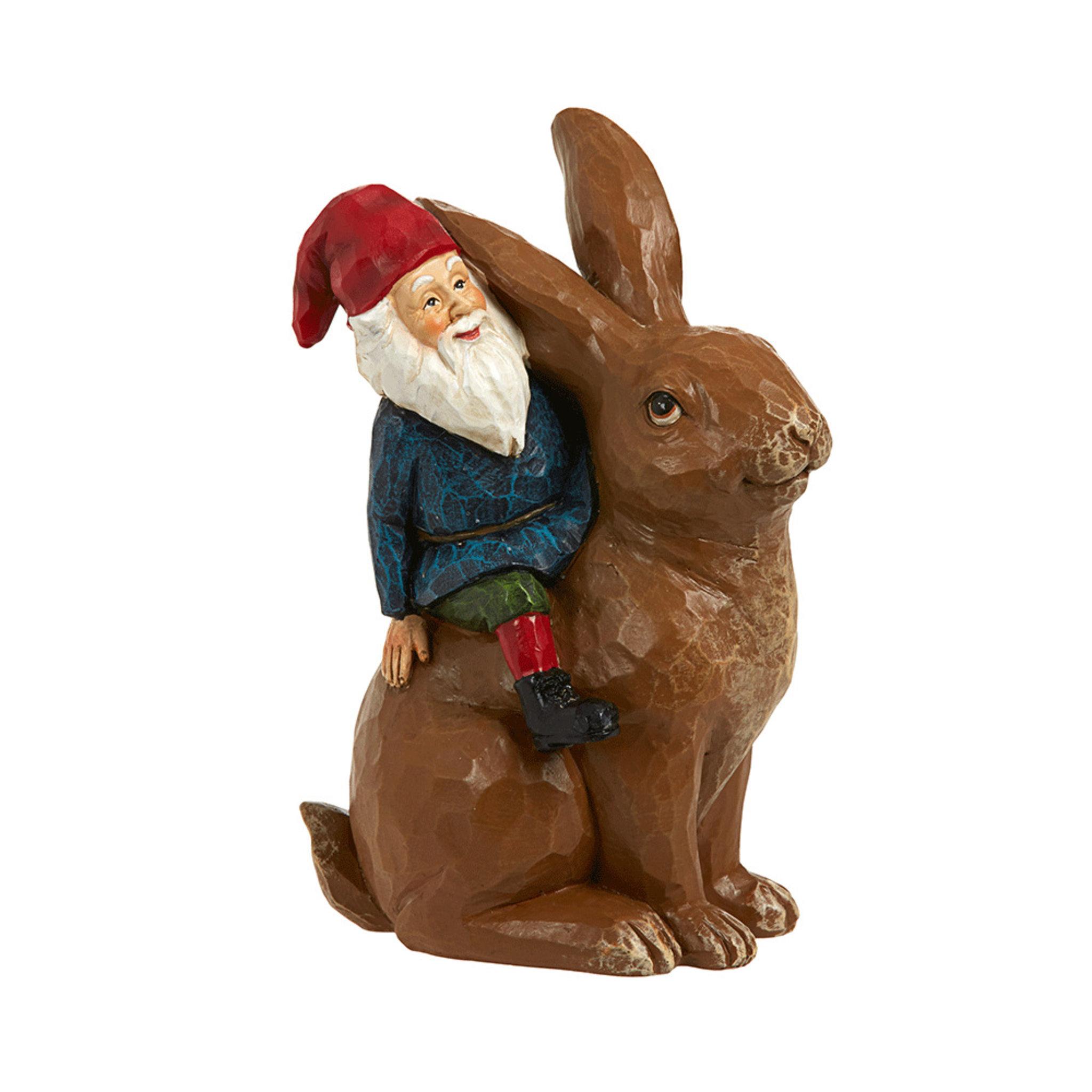 Juldekoration tomte & kanin, 16 cm
