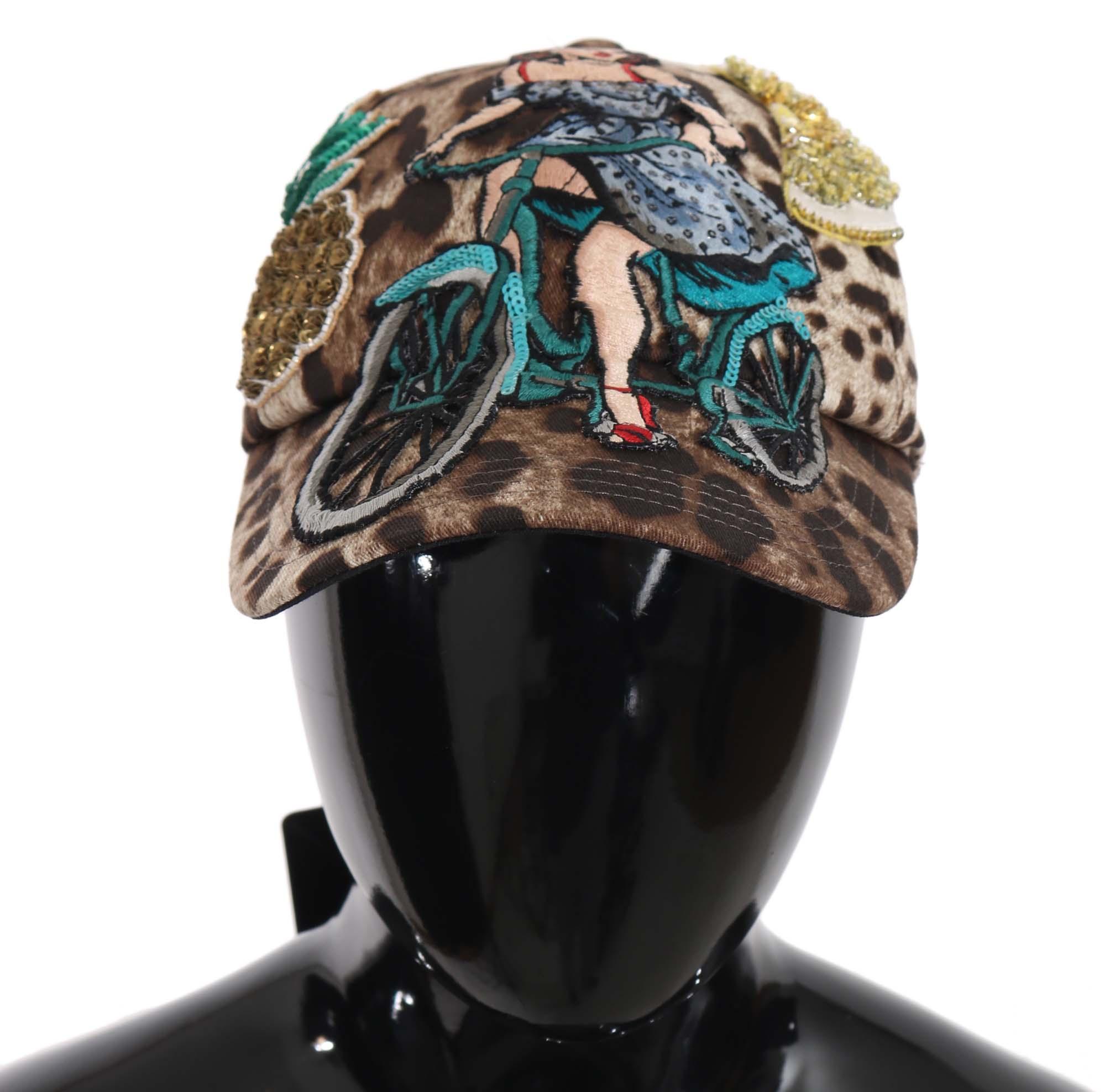 Dolce & Gabbana Women's Leopard Sequin Sicily Applique Baseball Hat Brown HAT70141 - 56 cm|XS