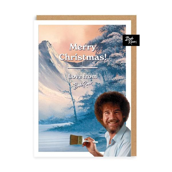 Merry Christmas Snowy Mountain Tree Christmas Card