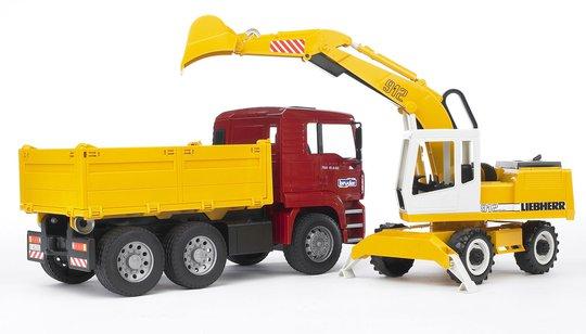 Bruder MAN TGA Construction Truck Og Liebherr Gravemaskin