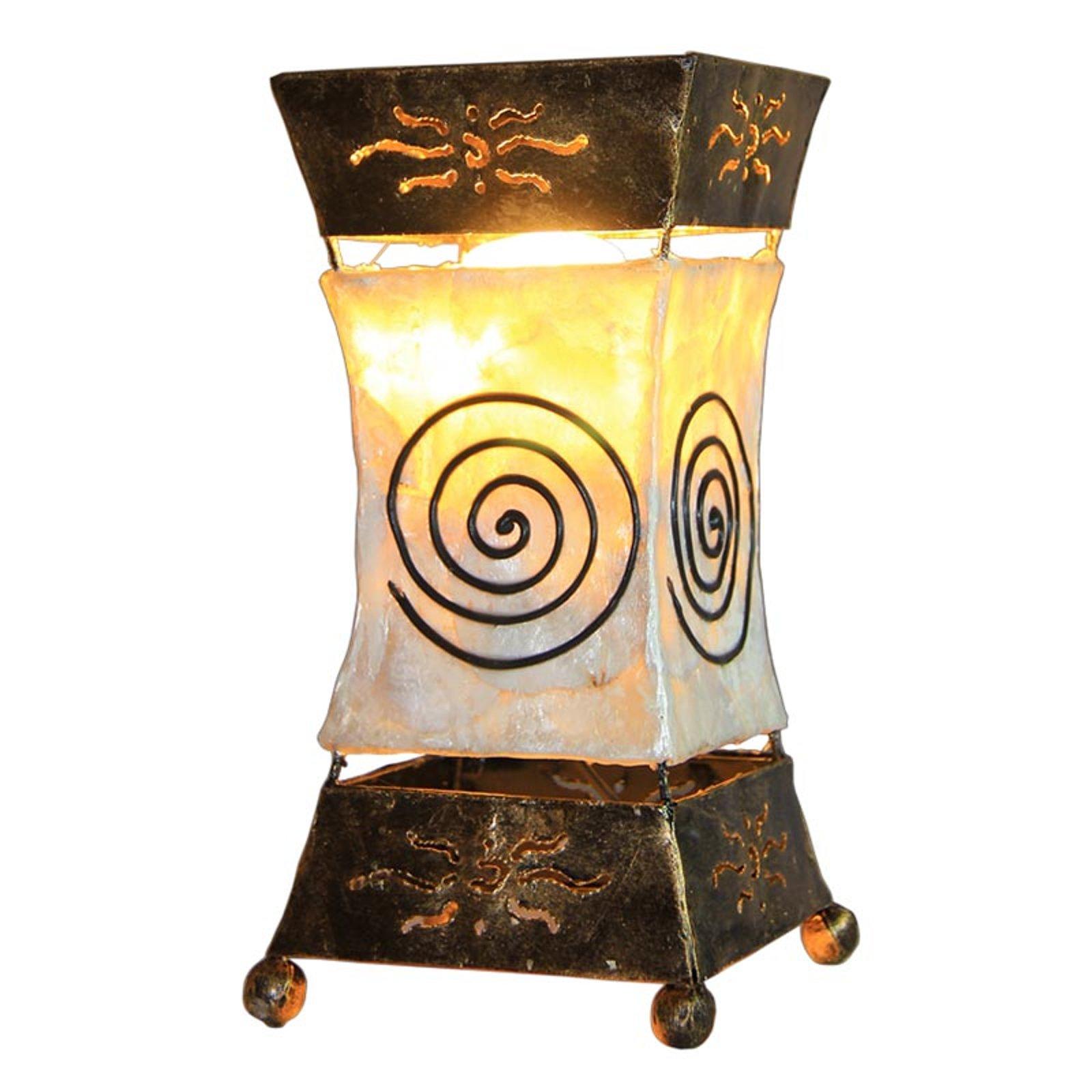 Lys bordlampe Xenia med spiralmotiv
