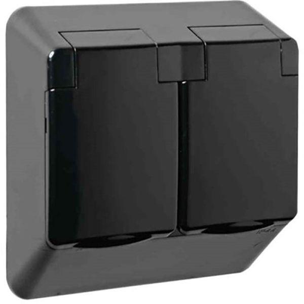 Elko 4044262513 Seinäpistorasia koteloitu, 2-osainen, kannella, musta