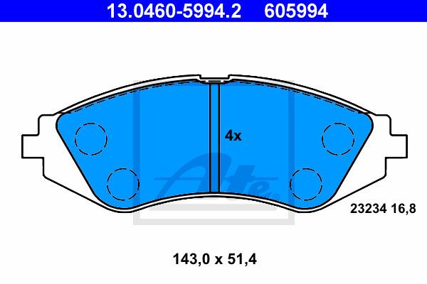 Jarrupalasarja, levyjarru ATE 13.0460-5994.2