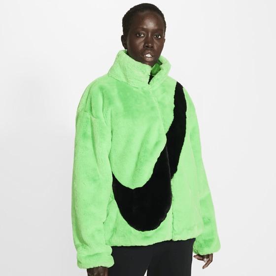 Nike W Nsw Jkt Faux Fur Jackor POISON GREEN/BLACK