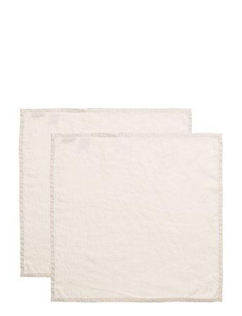 Servietter Vasket lin Lys beige 2-pakning 45x45 cm