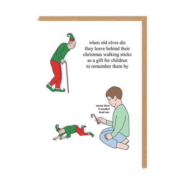 Old Elves Leave Walking Stick Christmas Card